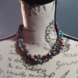 SILVER STRIKE TURQUOISE STONE NECKLACE
